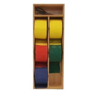 Front view of Vertical 6 roll resistance band storage and dispensing unit