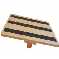 On angle view of Fast tilting teeter type balance board allows for a center balance point.