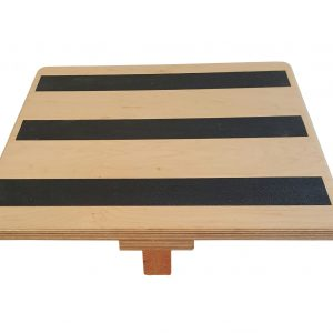 View of Non-slip strips on top of teeter type balance board