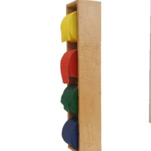 Angle view of Exercise Band Dispenser with four theraband rolls