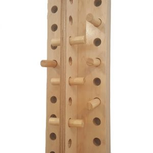 View of Finger ladder with 7 pegs and holes for physical therapy training.