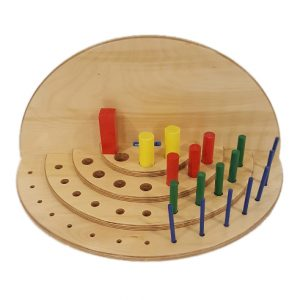 Front view of Horizontally placed v36 hole semi-circular reversible pegboard