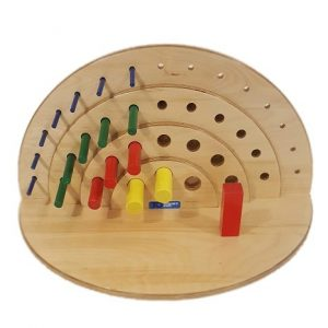 Front view of Vertical view of 36 hole semi-circular reversible pegboard