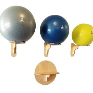 "3 horizontal exercise ball racks with 55cm , 65cm, and 75cm balls and 24"" round accessory Shelf"